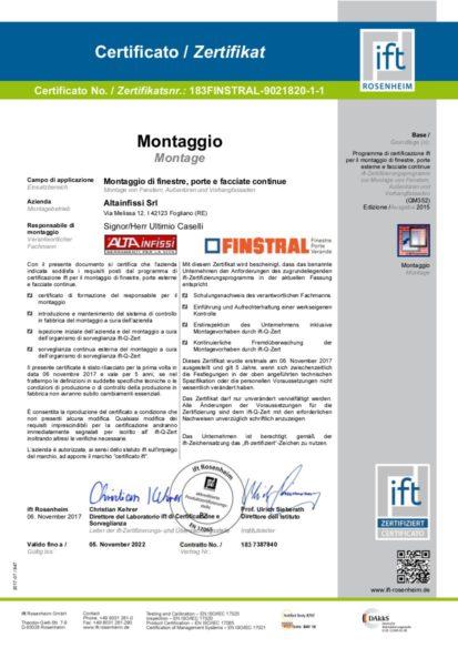 certificazioni altainfissi ift rosenheim
